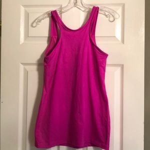 High Neck Hot Pink Tank with Built in Bra